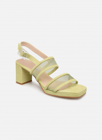 Pistachegroene sandalen met mesh detail