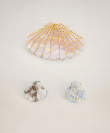 Set van 3 haarspelden in schelpvorm