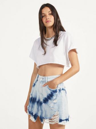 Jeansrok met tie-dye print