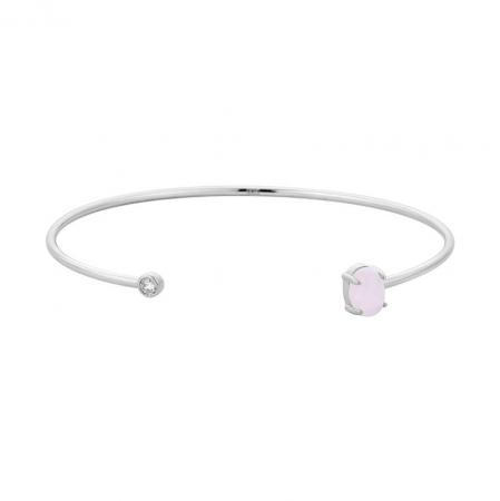Zilveren armband met rozenkwarts