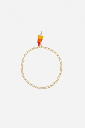 Gouden armband met schakels en charm
