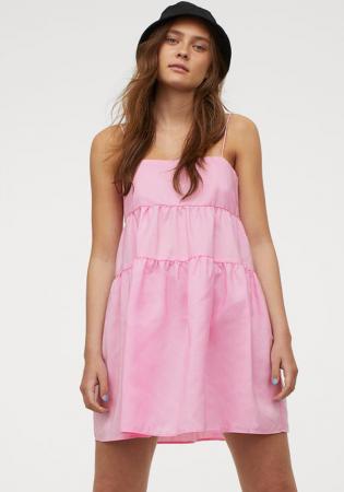 Roze jurk met spaghettibandjes