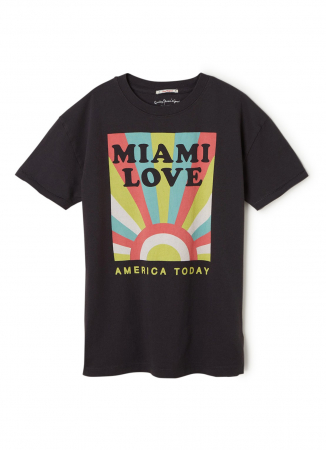 Zwart T-shirt met opschrift 'Miami love'