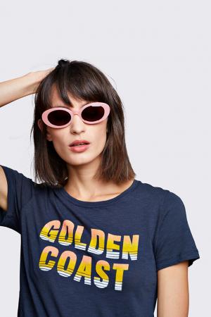 Marineblauw T-shirt met opschrift 'Golden coast'