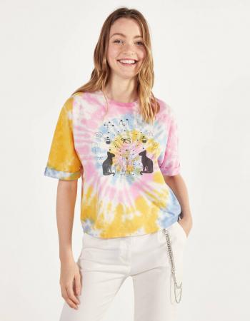 T-shirt met roze-blauw-gele tie-dye