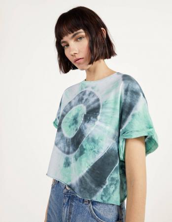 T-shirt in grijs-groene tie-dye met cirkel
