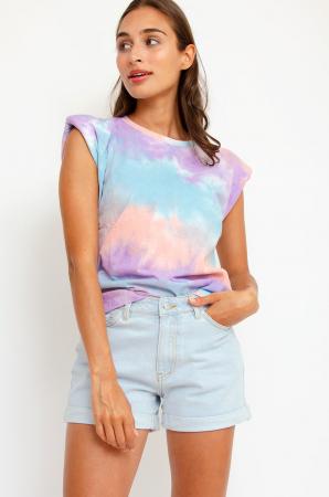 T-shirt met schoudervullingen in blauw-paars-oranje tie-dye
