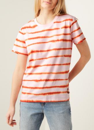 Roze T-shirt met oranje gestreepte tie-dye