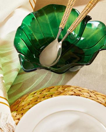 Groene bladvormige slakom in glas