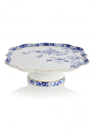 Porseleinen taartplateau met blauwe bloementekening