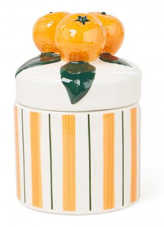 Gestreept opbergpotje met sinaasappels