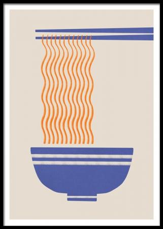 Print van bowl met noedels