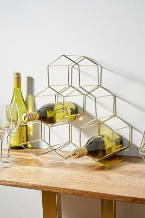 Goudkleurig wijnrek voor 6 flessen