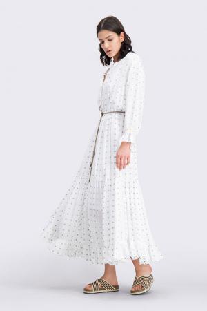 Lange jurk met volantzoom