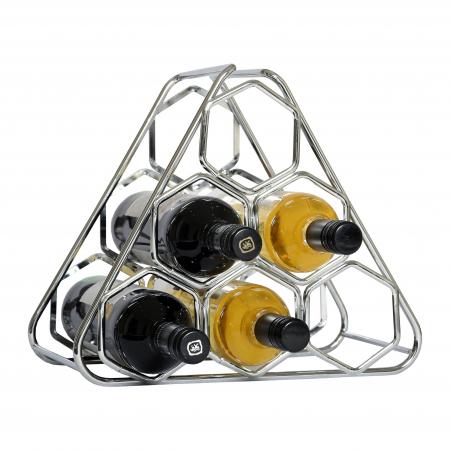 Zilverkleurig geometrisch wijnrek uit staal voor 6 flessen