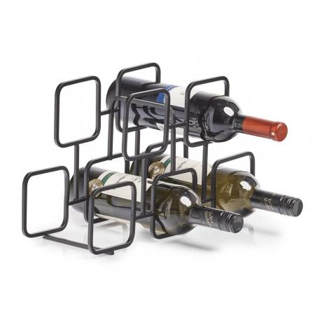 Geometrisch wijnrek in zwart metaal voor 5 flessen