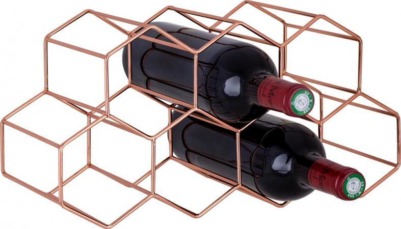 Geometrisch wijnrek in koperkleur voor 7 flessen