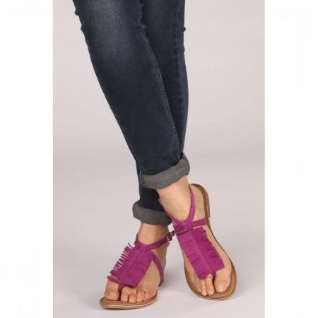 Fuchsia sandalen met franjes