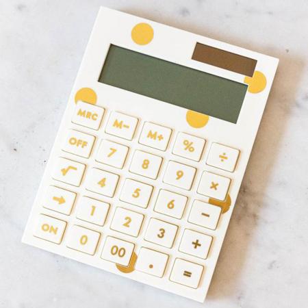 Calculator met gouden bollen