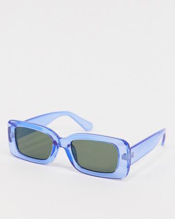 Blauwe rechthoekige zonnebril