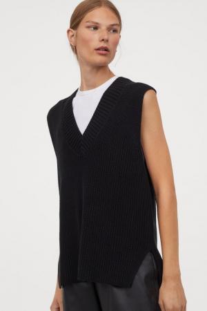 Zwarte mouwloze vest