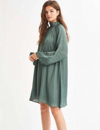 Olijfgroene mini-jurk met lange mouwen en stippendessin