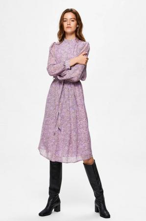 Lila midi-jurk met lange mouwen en stippendessin