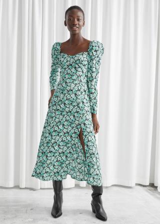 Midi-jurk met pofmouwen, split en turquoise bloemenprint