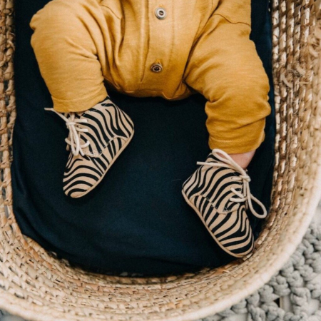 Handgemaakte schoentjes in zebraprint