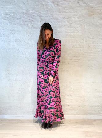 Paarse maxi-jurk