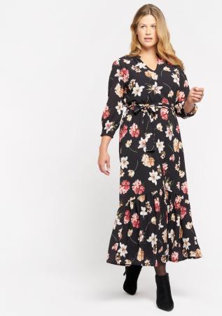 Zwarte jurk met bloemen