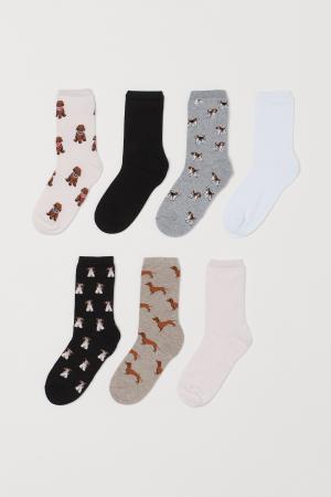 7 paar sokken met hondjesopdruk