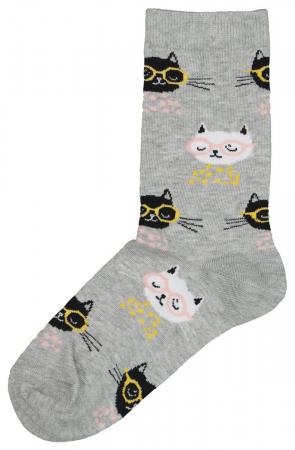 Lichtgrijze sokken met kattenprint