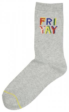 Grijze sokken met als opschrift 'Friyay'