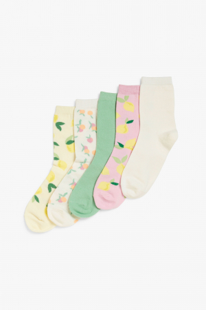 5 paar sokken in pasteltinten