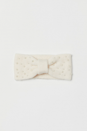 Witte haarband met parels