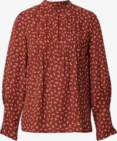 Roestkleurige blouse met bloemetjes