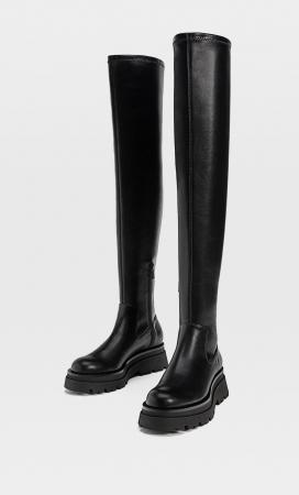 Zwarte laarzen met trackzool
