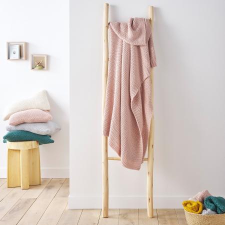 Plaid tricot rose poudré
