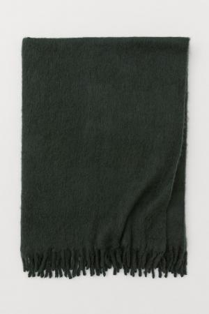 Plaid doux en laine mélangée vert sapin