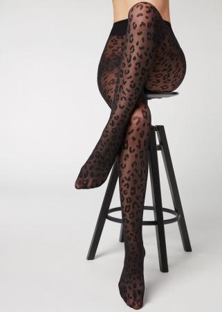 Zwarte panty's met print