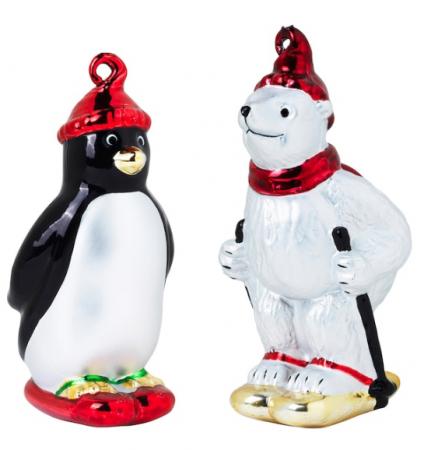 IJsbeer en pinguïn op wintersport