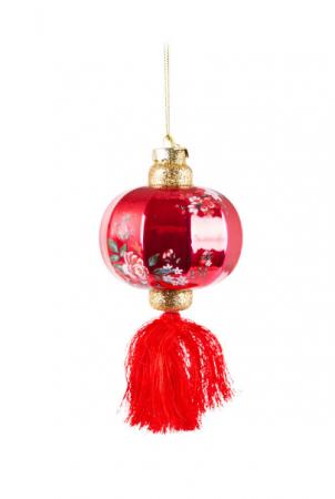 Rode kersthanger in lantaarnvorm
