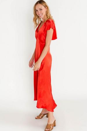 Rode maxi-jurk met V-hals en vlindermouwen