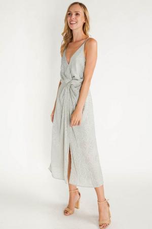 Pistachekleurige midi-jurk met split