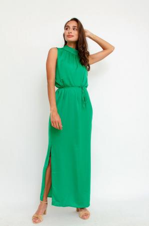 Felgroene mouwloze maxi-jurk met split
