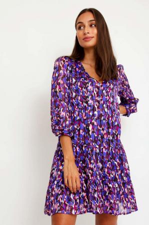 Paarse mini-jurk met motief en driekwartmouwen