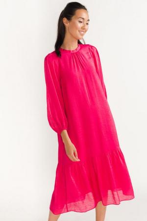 Fuchsia midi-jurk met driekwartmouwen