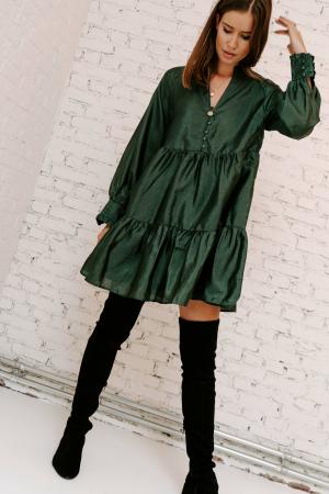 Mosgroene mini-jurk met lange mouwen