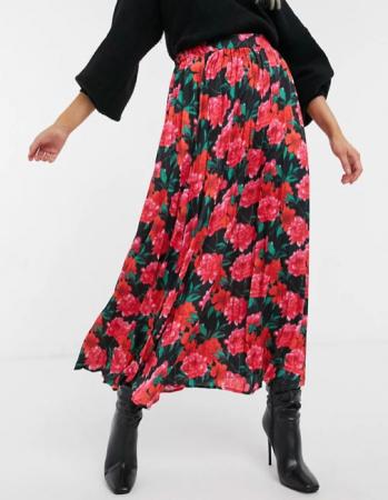 Zwarte midirok met rood-roze bloemenprint